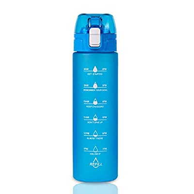 NOOFORMER 24oz Water Bottles with Times to Drink – Water Bottle with Straw with Time Marker BPA Free & Leak Proof for Sports, Outdoors and Office