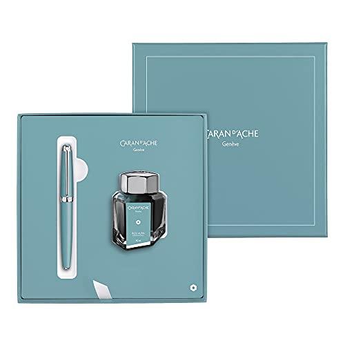 Caran d'Ache Léman Bleu Alpin - Pluma estilográfica en caja de regalo, tamaño M