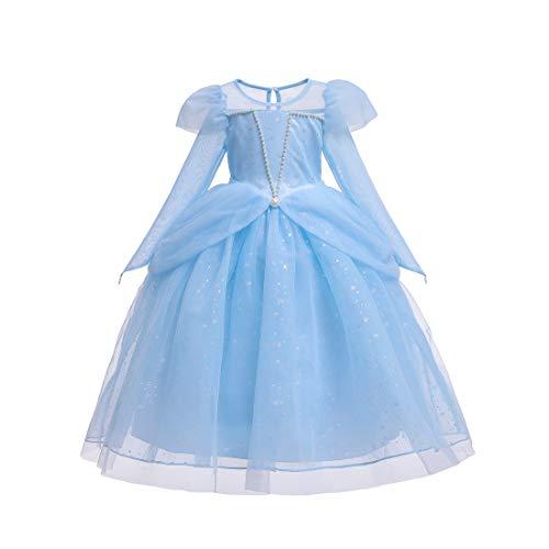 Vestido de princesa Aurora para nias, disfraz de Cenicienta, con perlas, para Halloween, fiestas
