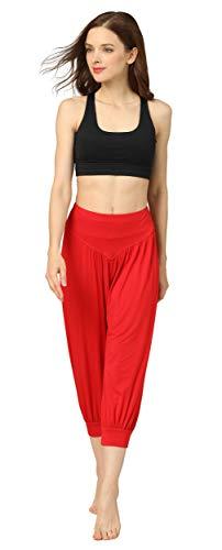 HOEREV® Frauen-Super Soft Modal Spandex Harem Yoga Pilates Capri Hose
