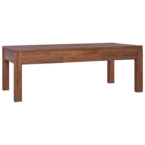 vidaXL Teak Massiv Couchtisch mit 1 Schublade Kolonialstil Beistelltisch Wohnzimmertisch Kaffeetisch Sofatisch Teetisch Tisch 110x60x40cm