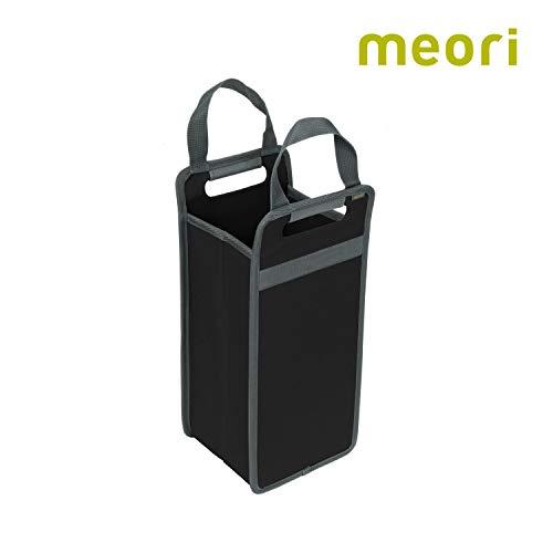 meori Schwarz faltbarer 2 Flaschen-tragbare Weinbox-Präsentkorb für Mann und Frau Einkauf Picknick-A100406, Polyester, Flaschenträger 2er
