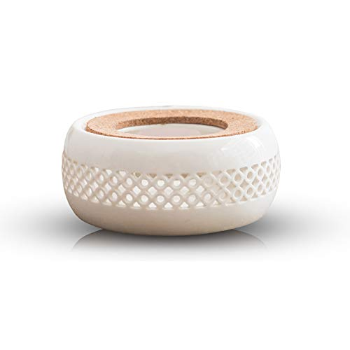 Keramik Stövchen, Teelichtstövchen, weiß, Design für Glas-Teekanne, Teekannenwärmer Basis (13,5 x 6 cm)