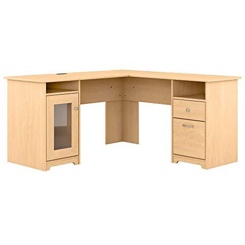 Bush Furniture Cabot L Shaped Computer Desk, 60W, Natural Maple