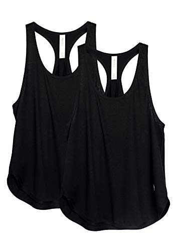 icyzone Yoga Sport Tank Top Damen Racerback Lauftop Fitness Running Shirt Oberteile, 2er Pack (L, Black/Black)