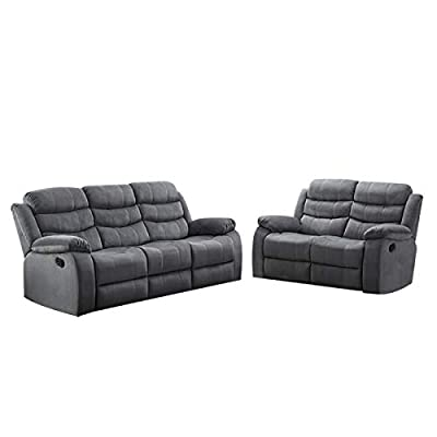 AC Pacific Jim Collection Contemporary 3-Piece Reclining Living Room Upholstered Sofa, Set with 5, Loveseat & Reclining Chair, Grey
