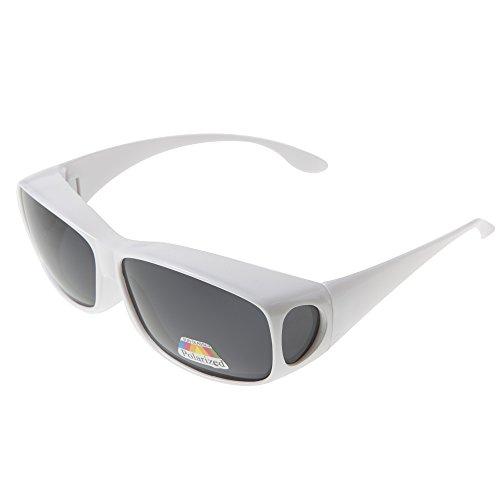 Polarisierte Überziehbrille von ASVP Shop®, Sonnenbrille zum Tragen über der eigentlichen Brille,geeignet für das Autofahren Gr. Medium, weiß