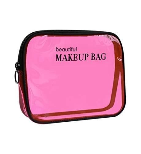 LSPERTGC Femmes Make Up Case, Sac de cosmétique de Bain PVC Transparent imperméable à l'eau, Voyage Zipper Maquillage Beauté Wash Organizer Kit de Stockage de Toilette, B-Rose