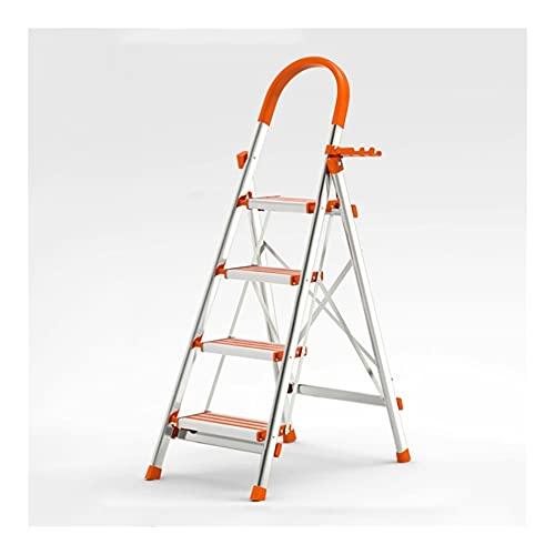 YHYH Escalera De 4 Escalones Escalera De Aluminio Taburete Plegable con Empuñadura De Utilidad Y Portaherramientas Escaleras De Mano (Color : Stainless Steel C)