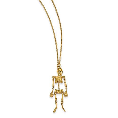 De acero inoxidable Amarillo IP-cristal plateado esqueleto con 5,08 cm Ext Necklacek...