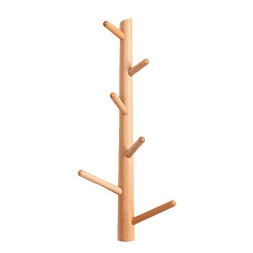 Perchero de acero inoxidable Perchero de madera maciza Gancho de Rack Creativo Simple de múltiples funciones Sala de estar Dormitorio Bata de Rack de almacenamiento Rack Hook Perchero de pared