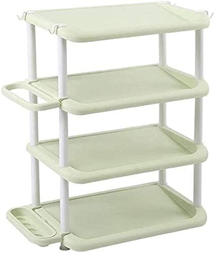WQFJHKJDS Zapatos a Prueba de Polvo Gabinete Paraguas Rack Storage Rack Simple Hogar Plástico Montaje Multi-Capa Shoe Rack (Color : Green, Size : 4 Layers)