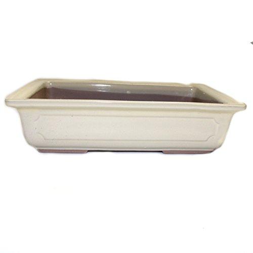 Bonsai Pot Ceramic Rectangle Window Shaped Decorations (9', Cream-Yu)