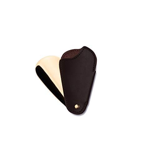 Utile4 - Travel - Reise Schuhanzieher mit Hülle aus echtem Leder Dunkel Braun und mit handwerklichen Nähten - Biegsamer Schuhlöffel mit starker Schaufel aus Stahl, Feinarbeit aus Gold - Made in Italy