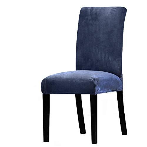 Qier Stuhlhussen Universal Stretch Chair Schonbezug, Esszimmer Elastic Soft Velvet Protector Covers, Hotel Bankett Home Decoration, Marineblau, 4Er-Set