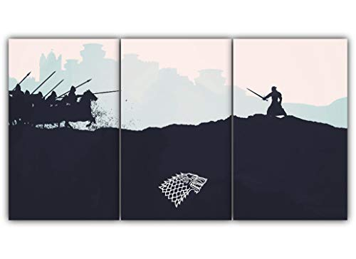 3 Panels The Battle Of Bastards Multi Canvas Art Game Thrones Jon Snow Winterfell Valyrian Steel Protector North Wall Poster Piece Print Home Decor