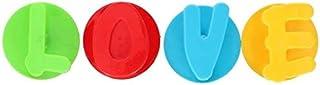 TOM - zelfklevende haakjes Love 5,5 x 4 cm PVC 4 stuks - Blauw,Geel,Rood,Groen