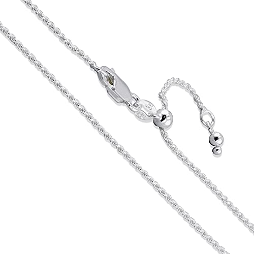 Sterling Silver Adjustable Diamond-Cut Rope Chain 1.5mm Solid 925 Italy New Necklace 22