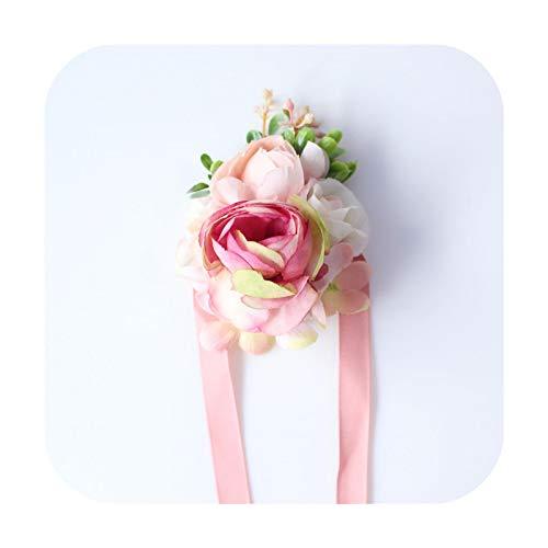 Hopereo Flor de seda ramillete de la muñeca de rosa artificial broche de dama de honor hombre Boutonniere vestido accesorio boda fiesta decoración muñeca