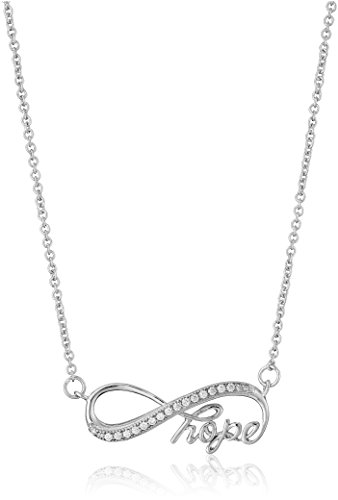 """925 Sterling Silver AAA Cubic Zirconia Infinity Hope Necklace, 18"""""""
