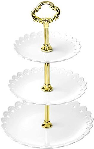 WolinTek Soporte para Tartas de 3 Pisos, Bandeja de Tartas, Plato de Frutos Secos Plaza Apilada Fiesta Cupcake y Torre de Postre para Boda Fiesta Tarde cumpleaños, plástico (C)