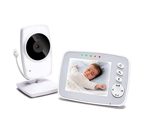 Vigilabebés con Cámara Monitor de Bebé Inteligente con Pantalla LCD 3.2' y Cámara con Visión Nocturna Comunicación Bidireccional