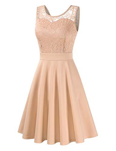 Damen Spitzenkleid Elegant Cocktailkleid Festliche Brautjungfernkleider für Hochzeit Knielang Abendkleider,Champagner,S
