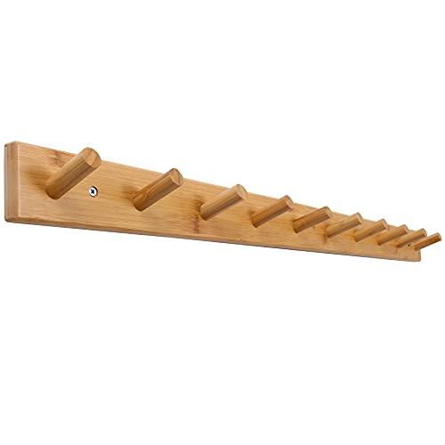 SKOLOO Wood Coat Rack Wall Mounted,10 Peg Long Bamboo Hook for Hanging Backpack Coat Towel Hat,16'' Hole to Hole,Natural