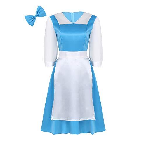 MSemis Disfraz Costume Princesa Bella Mujer Vestido Princesa Azul Adulto Cosplay Cenicienta Disfraces Princesa Adutlo con Tocado Delantal Traje Criada Despedida Fiesta Reyes Magos