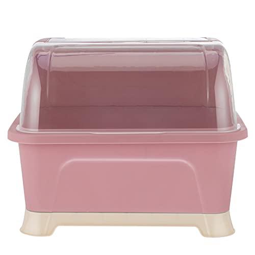 Angoily Caja de Secado de Biberones con Cubierta a Prueba de Polvo Caja de Almacenamiento de Biberones de Alimentación para Bebés Escurridor Organizador de Vajilla ( Rosa )