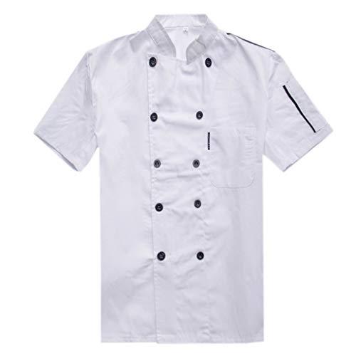 Gwxevce Unisex Kurzarm Sommer Kochjacke Zweireiher Restaurant Koch Uniform Food Service Coat Arbeitskleidung mit Taschen M-3XL Weiß-L