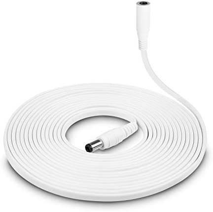 White Power Extension Cord Replacement for Alexa Dot 4th / 3rd Gen, Spot, TV Cube, Show 5, Dot with Clock – DC Flat Charging Cable 16ft Long Extender