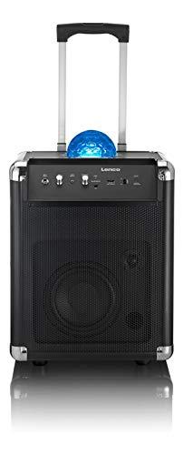 Lenco Mobile PA Sound Anlage PA-325 mit Bluetooth und Discokugel für Lichteffekte , 40 Watt RMS