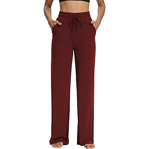 Pantalones De Verano para Mujer, Pantalones De Yoga con Cordones De Color SóLido, Pantalones Casuales De Pierna Ancha