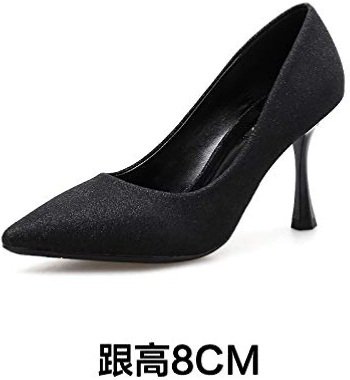 HRCxue Pumps Mode-Peelings, Flacher Mund, Mund, Mund, einzelne Schuhe, Damenstilett, einzelne Schuhe, Schwarze Arbeitsstiefel, 34, schwarz  71cc52