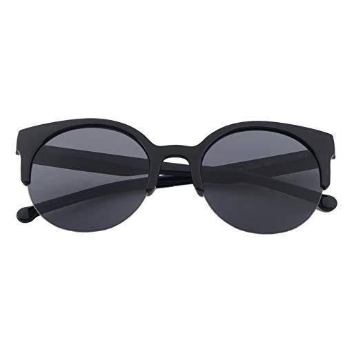 Triamisu Diseño de moda Unisex Clásico Forma redonda Círculo Marco Semi-Rimless Gafas de sol Gafas Gafas de sol Hombres Mujeres al aire libre-Negro