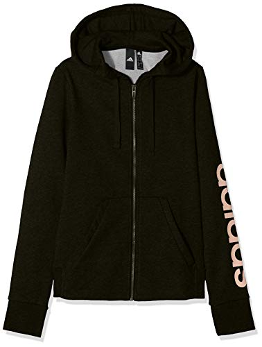 adidas Damen Kapuzen-Jacke Essentials Linear Full Zip Hooded, Black/Haze Coral, S, DI0119