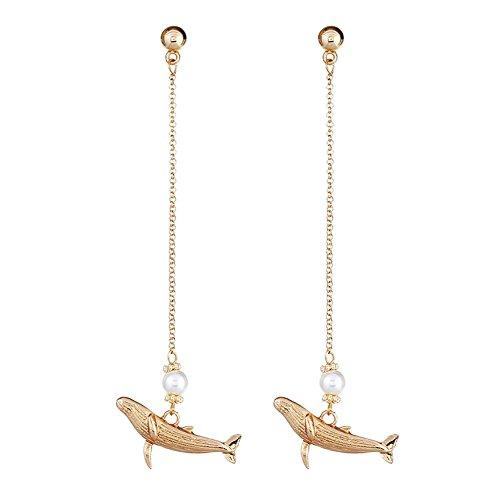 Pendientes de gota románticos con diseño de delfín para mujer, chapados en oro y perla