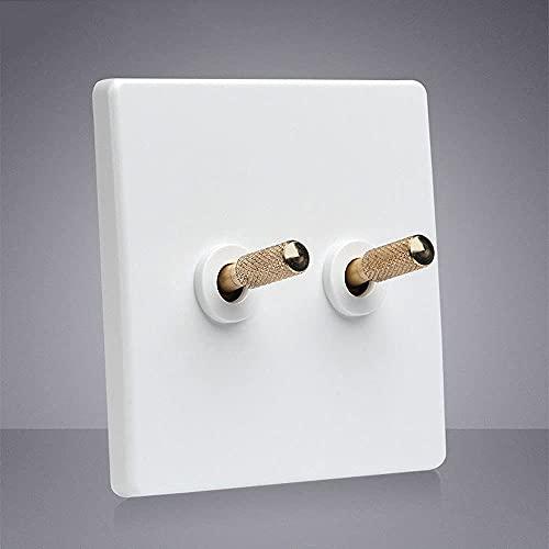 PJDOOJAE Interruptor 86 Tipo de pared de pared blanca Interruptor de luz 86 Palanca Interruptor de pared Interruptor de palanca Interruptor de luz cuadrado de palanca blanca Industrial retro interrupt