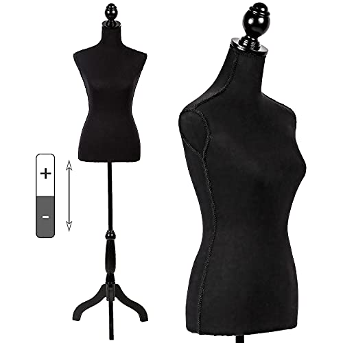 Mannequin Torso Mannequin Stand Dress Form 60-67 Height Adjustable Maniquins Body Female, Displays Women for Sewing Wooden Tripod Base, Foam Body(Black)