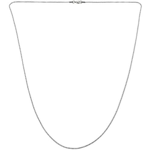 Viudecce Cadena de Mujer de joyeria, Collar Cadena coraza del Acero Inoxidable, Plata – 2 mm de Ancho - 80 cm de Longitud