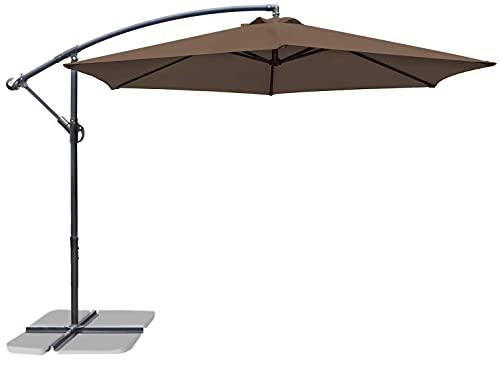 Greesum Offset Umbrella 10FT Cantilever Patio Hanging Umbrella Outdoor Market Umbrella with Crank and Cross Base (Brown)