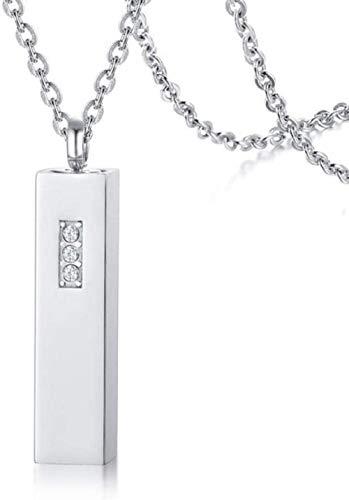 NC122 Collar con Colgante Cadena de Perfume Minimalista de Acero Inoxidable con Diamantes de imitación Oro Mujer Joyería-Acero