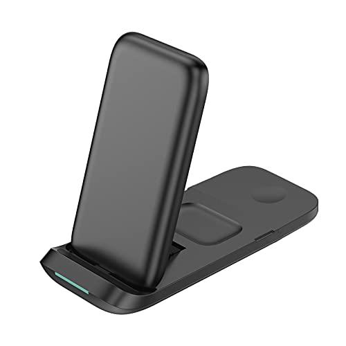 Festnight Cargador inalámbrico 3 en 1 Soporte de Carga inalámbrico Qi Reemplazo de Almohadilla de Carga inalámbrica Plegable para A-pple Watch Air-Pods Pro i Phone 12/11 / 11pro / X/XS/XR/XS MAX