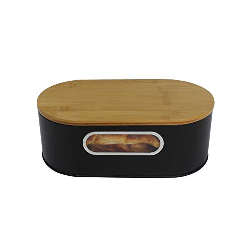 4W Bread Box for Kitchen Countertop, Farmhouse Metal Bread Boxes with Cutting Board Storage for Loaves, Dinner Rolls, Pastries - Black