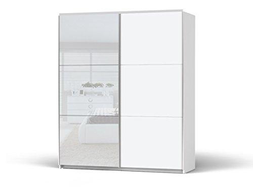 SMARTBett GmbH Schuifdeurkast, kledingkast, kast met spiegeldeur, kleur breedte 183 cm, wit/wit/spiegel