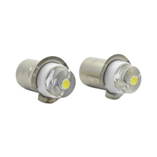 Ruiandsion 2pcs P13.5S 6V 0.5W Blanco 6000K Bombilla LED Linterna Mini Linterna de Cabeza Linterna de Linterna de Faro Frente, Ajuste No Polar tanto Tierra Negativa como Tierra Positiva.