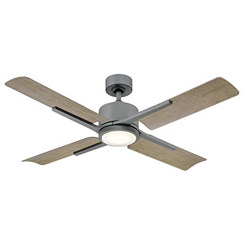 Cervantes Indoor and Outdoor 4-Blade Smart Ceiling Fan 56in Graphite Weathered Gray with 3000K LED Light Kit and Remote Control