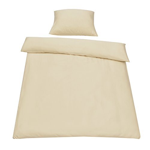 [neu.haus] Beddings Duvet cover 155x220 cm + Pillow case 80x80 cm Eco Tex tested Microfibre 100% Polyester Bed Set with Zipper Bedroom BEIGE
