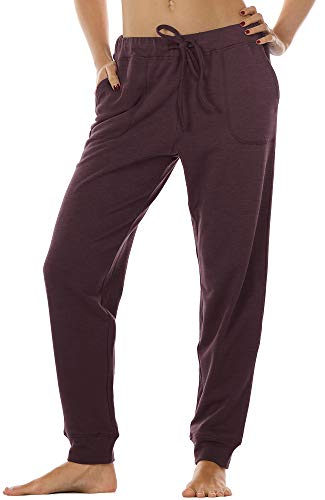 icyzone Damen Hose Jogginghose Lang Sweathose - Sporthose Trainingshose Running Gym Pants (L, Burgundy)